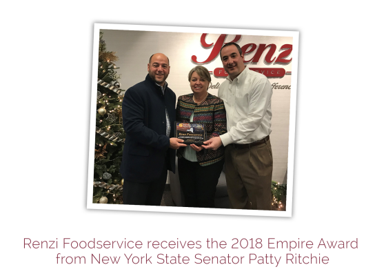 Renzi Foodservice receives the 2018 Empire Award from New York State Senator Patty Ritchie