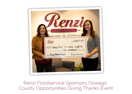 Renzi Foodservice Sponsors Oswego County Opportunities Giving Thanks Event